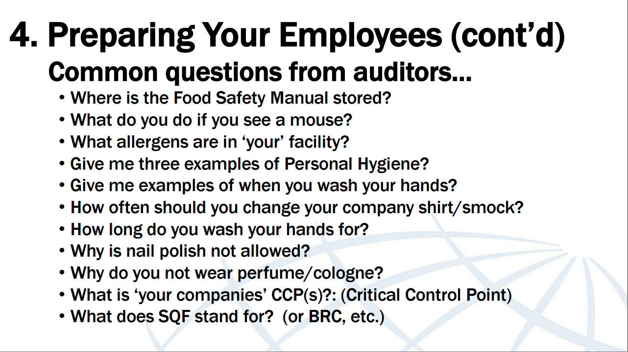 Common food safety audit questions