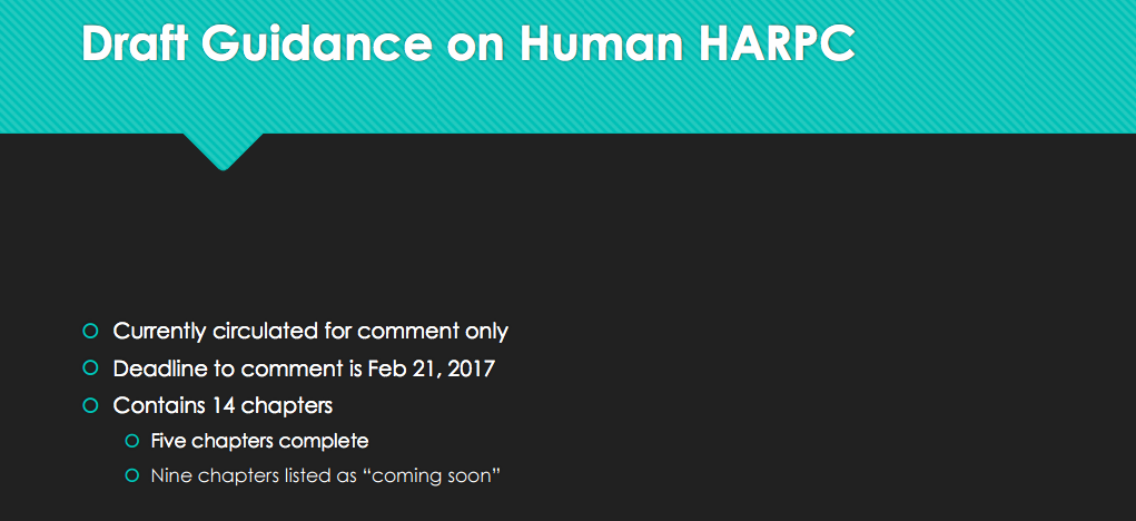 Draft Guidance on Human HARPC