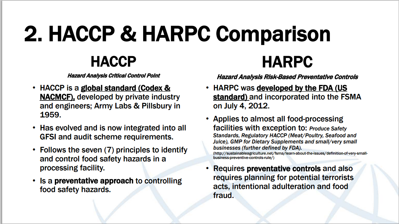 HACCP and HARPC Comparison