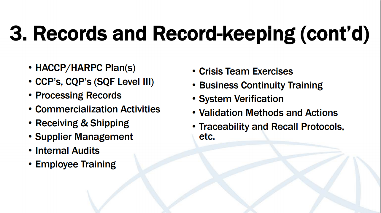 List of common items when it comes to recordkeeping.