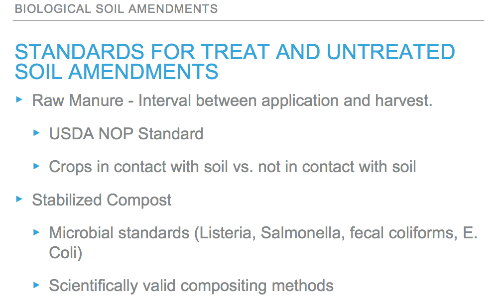 Standards for Treated and Untreated Soil Amendments