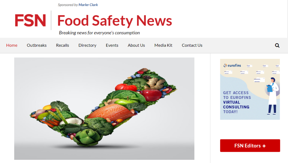food safety news blog screenshot