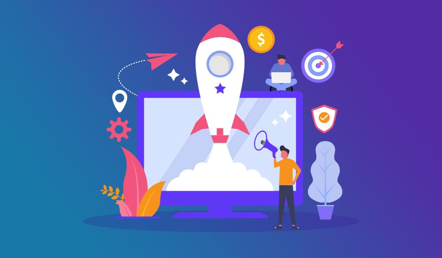 Business innovation concept with rocket icon on screen