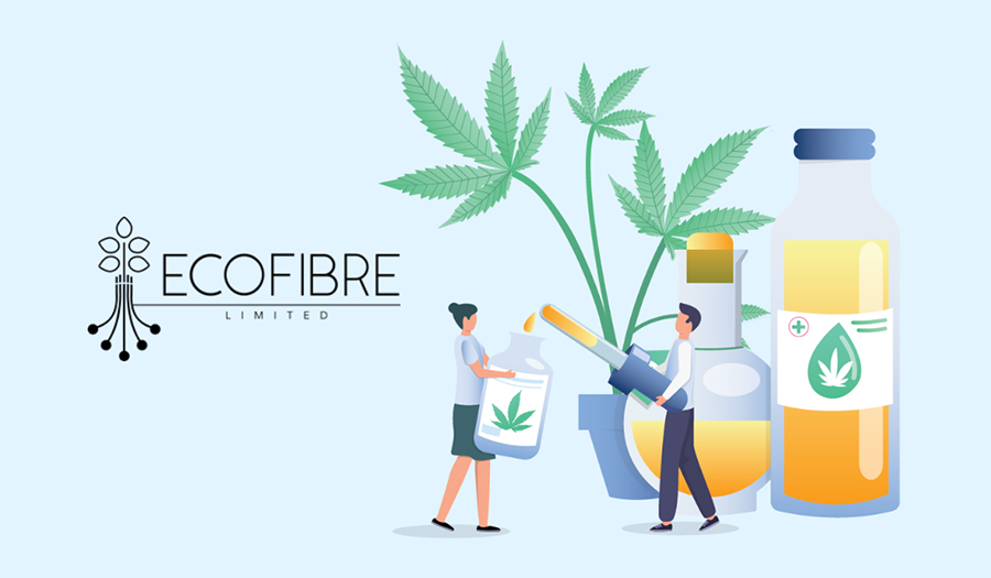 Illustrated man using dropper to fill CBD bottle with hemp leaves and hemp oil behind him