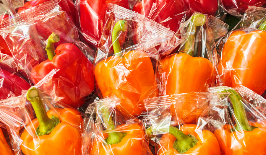 Peppers packaged in plastic