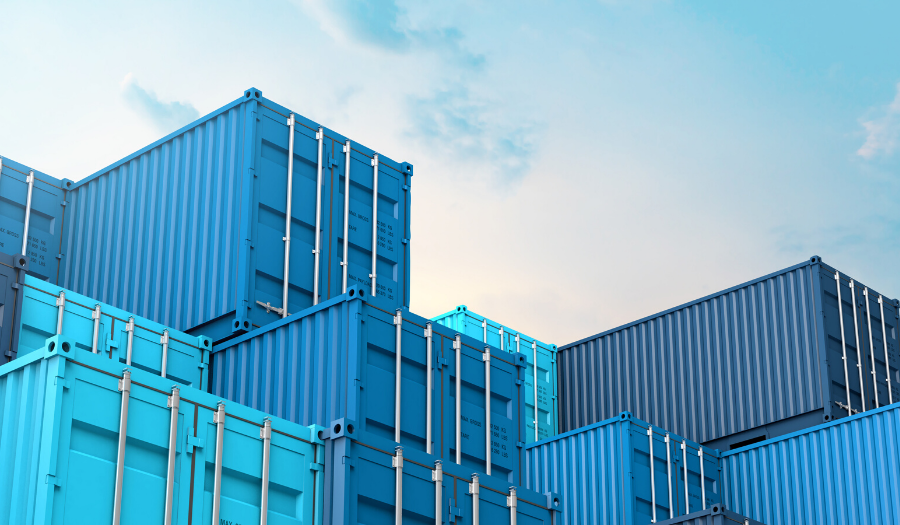 Stack of blue containers box, Cargo freight ship for import export