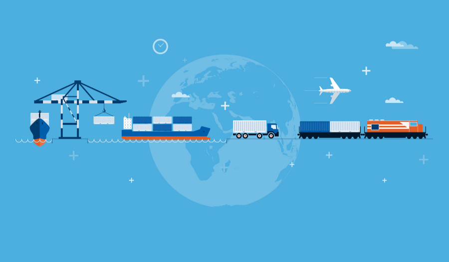Crane, shipping containers, truck, and train on global background