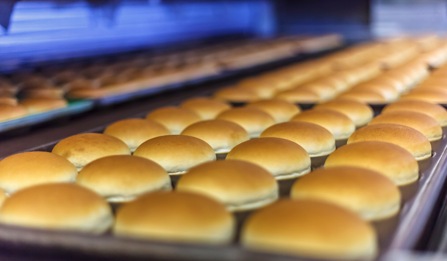 Bread on production line