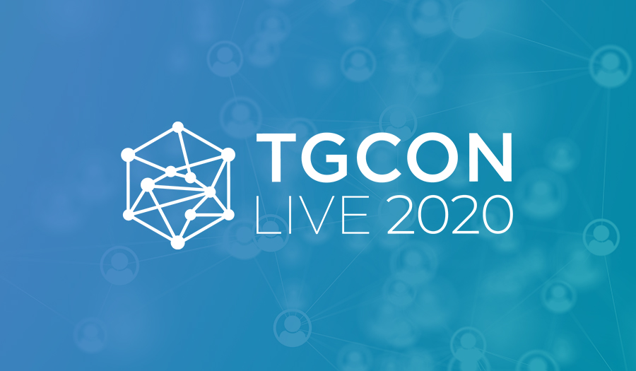 TGCon Live 2020 logo on background of networking people