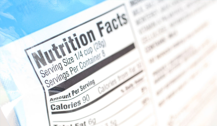 Food nutrition facts label