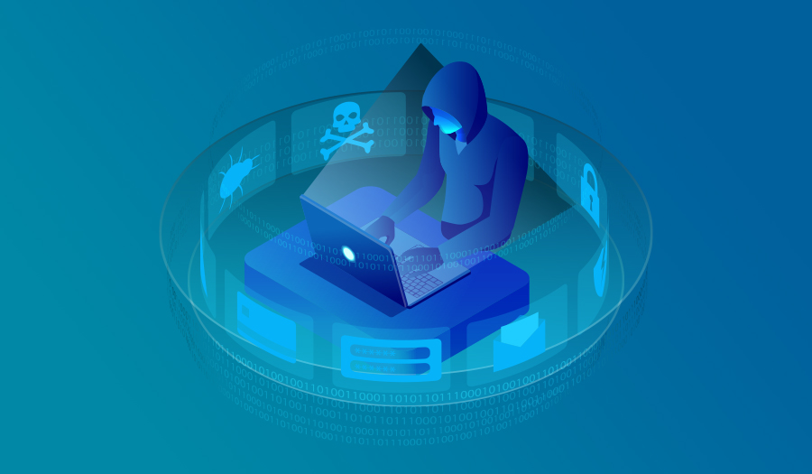 Isometric hooded man hacking internet