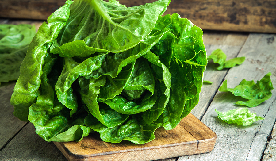 Romaine lettuce on a wooden cutting board