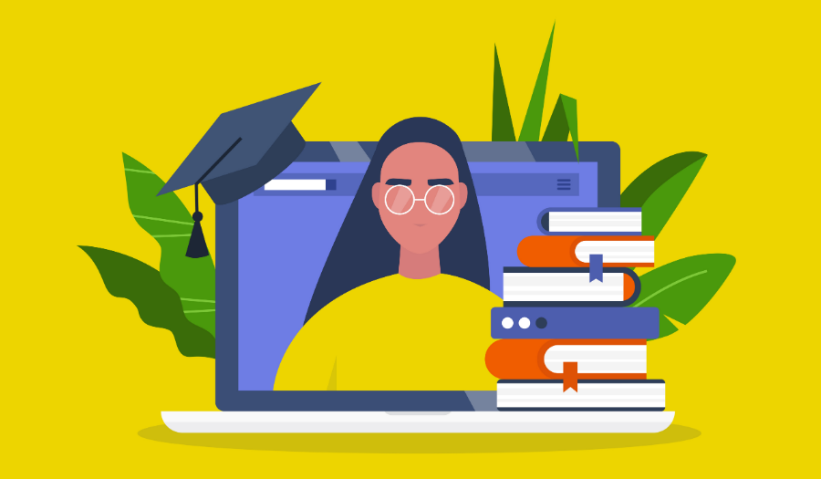 Laptop screen, a stack of books and a graduation cap with young female character portrait.