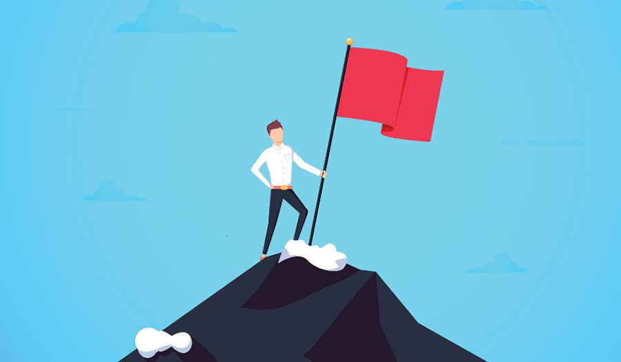 Business leader vector concept with businessman planting flag on top of mountain. Symbol of success achievement