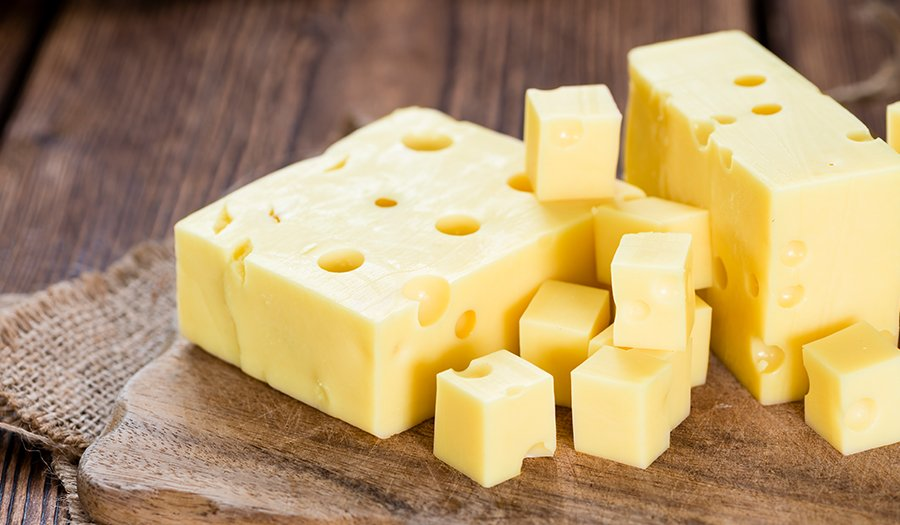 Portion of swiss cheese