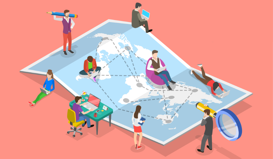 People standing and working around a map