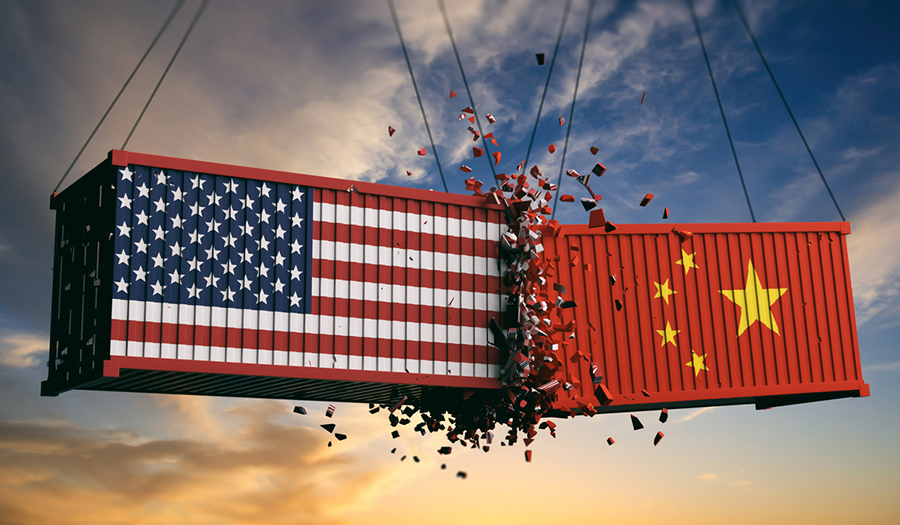 American and Chinese shipping containers crashing into each other