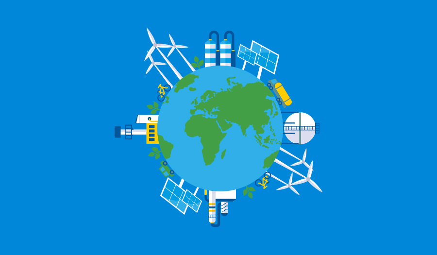 Planet earth with sustainable energy sources