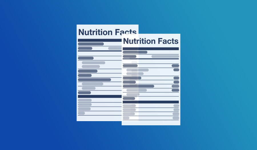 Two Nutrition Facts Labels on a Gradient Background