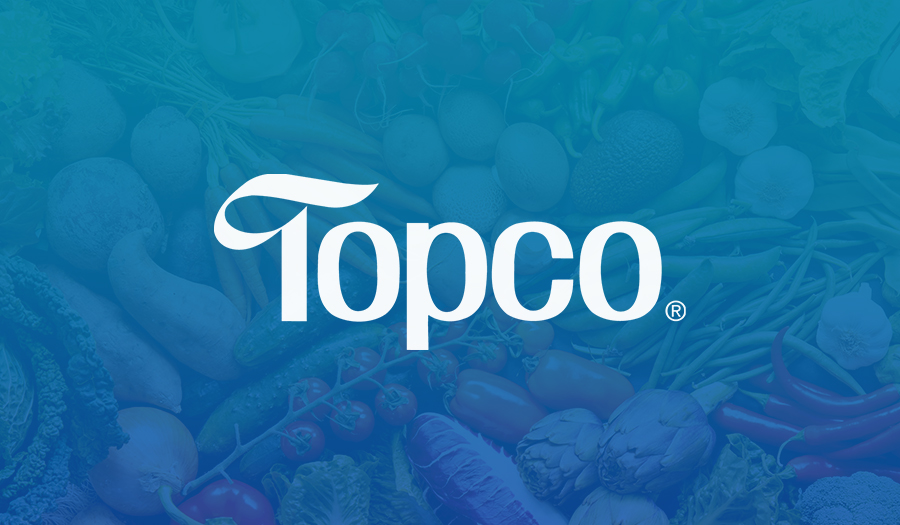 White Topco logo on gradient food background