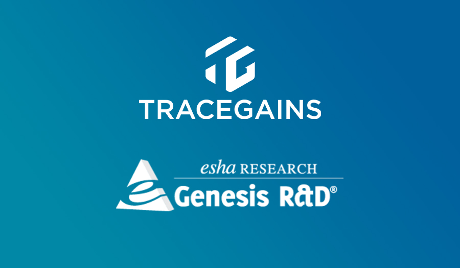 TraceGains and ESHA Research Genesis R&D logos on gradient background