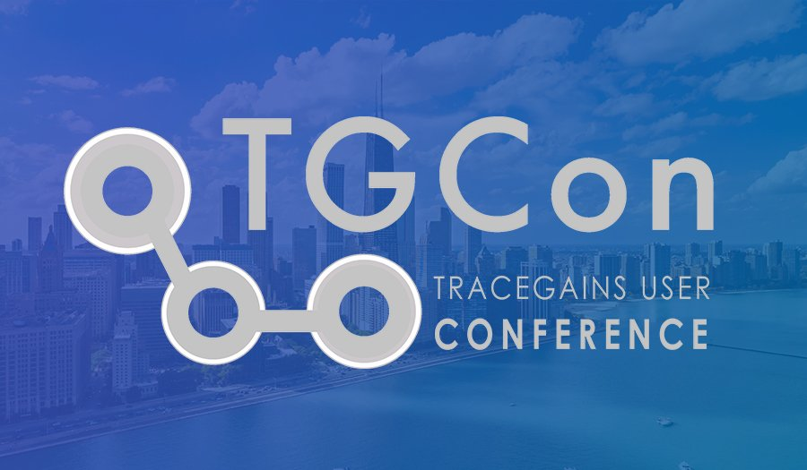 TGCon 2018 logo on blue background with Chicago skyline